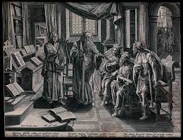 The prophet Elisha, inspired by the music of a minstrel, tells the kings of  Israel, Judah and Edom that their lands will be irrigated without the aid  of rain or wind. Engraving